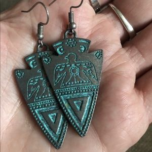 Tribal Turquoise Arrowhead Earrings